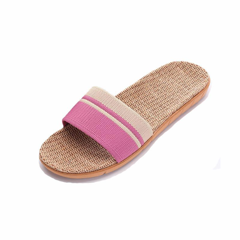 Summer Comfortable Slippers Breathable Linen Ladies Slippers - fashionshoeshouse
