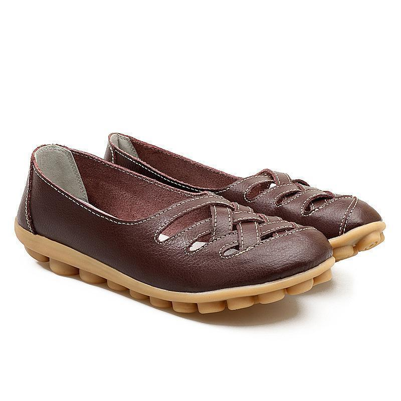 Brown Loafers Spring Series Women Driving Flat Shoes Breathable Hollow-out Design - fashionshoeshouse