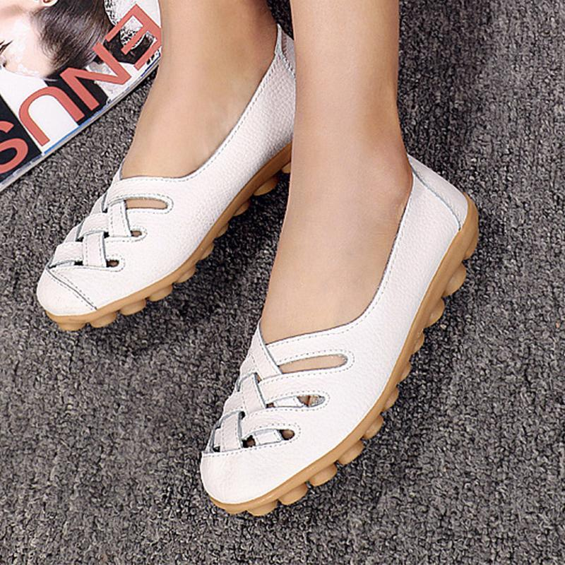 Summer Hollow Out Breathable Black Flats for Women - fashionshoeshouse