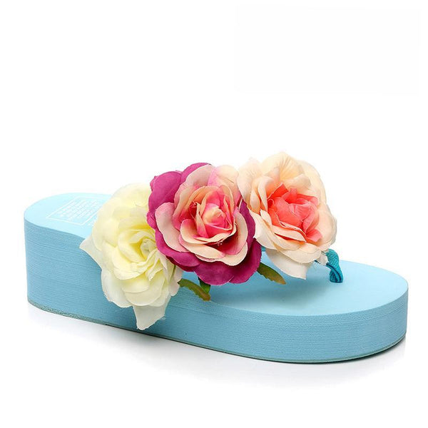 Summer Rose Flowers Decorated Light Blue Slippers For Women - fashionshoeshouse