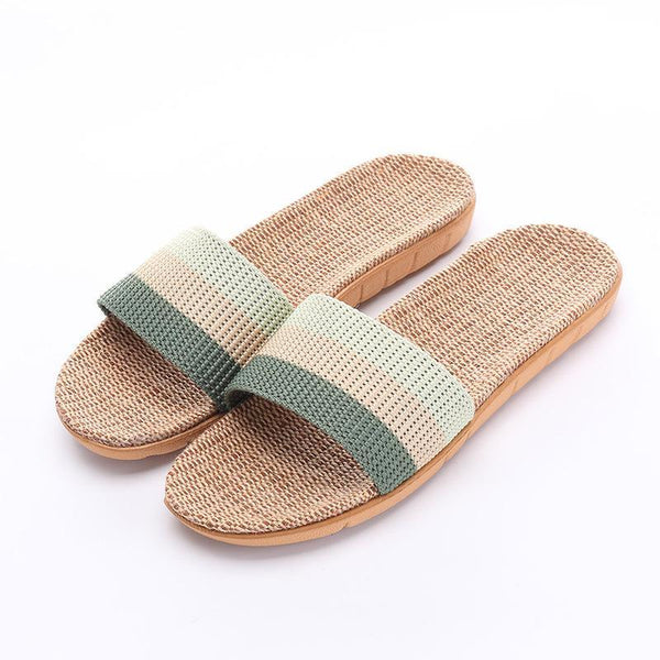 Summer Slippers Breathable Linen Slip-on Ladies Home Slippers - fashionshoeshouse