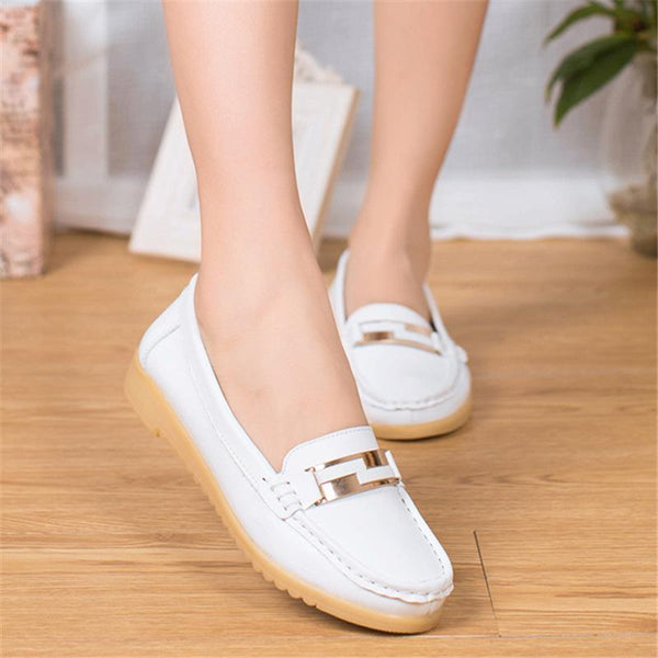 Super Soft Women White Flats Non-slip Flat Shoes for Women - fashionshoeshouse
