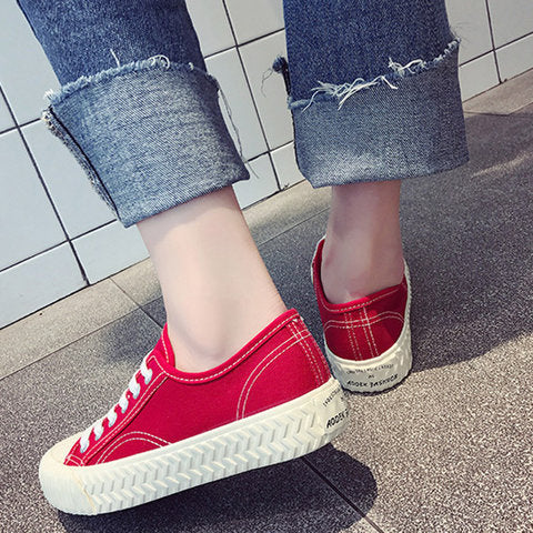 Pure Color Canvas Sneakers Lace Up Flat Comfy Walking Shoes - fashionshoeshouse