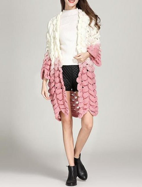 Autumn and winter new gradient sweater three-dimensional weaving fish scale - fashionshoeshouse