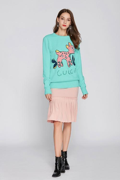 Fawn Heavy Industry Jacquard Rabbit Sweater - fashionshoeshouse