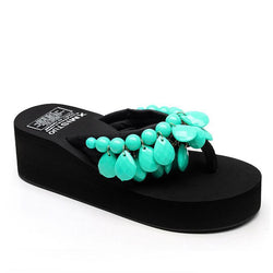 Tassels Chunky Medium Heel Green Slippers For Women - fashionshoeshouse