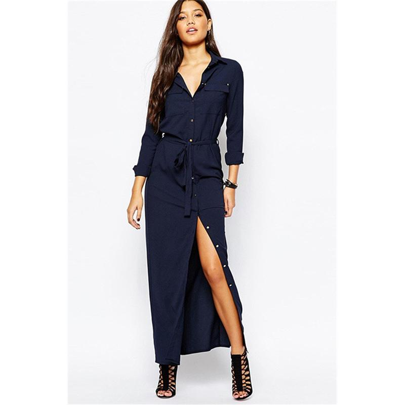 Tie Waist Shirt Dress With Button & Pocket - fashionshoeshouse