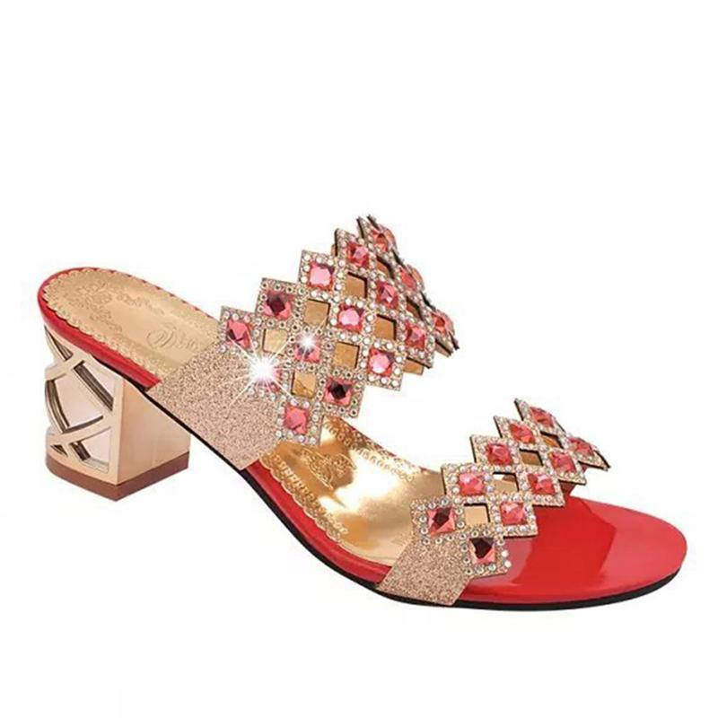 Vogue Rhinestone Open Toe Red Slippers For Women - fashionshoeshouse