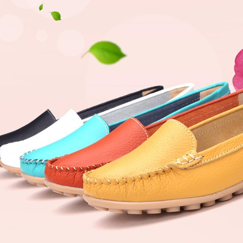 White Flat Shoes Round Toe Non-slip Flats for Driving - fashionshoeshouse