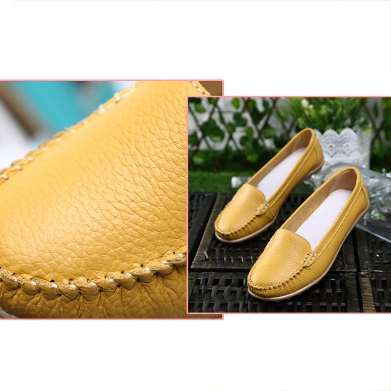 Casual White Slip-on Loafers for  Women Comfortable Round Toe Flats - fashionshoeshouse