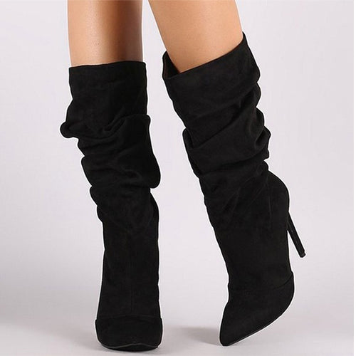 Women Slouch Boots Pointed Toe Stiletto High Heel Mid Calf Boots