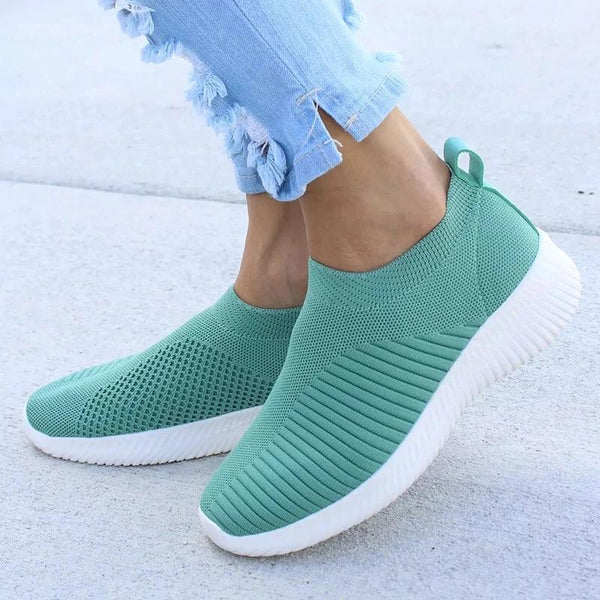 Women Knitting Sneaker Autumn Slip On Comfy Walking Loafers - fashionshoeshouse
