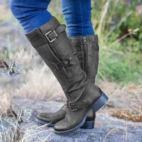 Winter Casual Plus Size Wide Calf Strap Buckle Womens Boots - fashionshoeshouse
