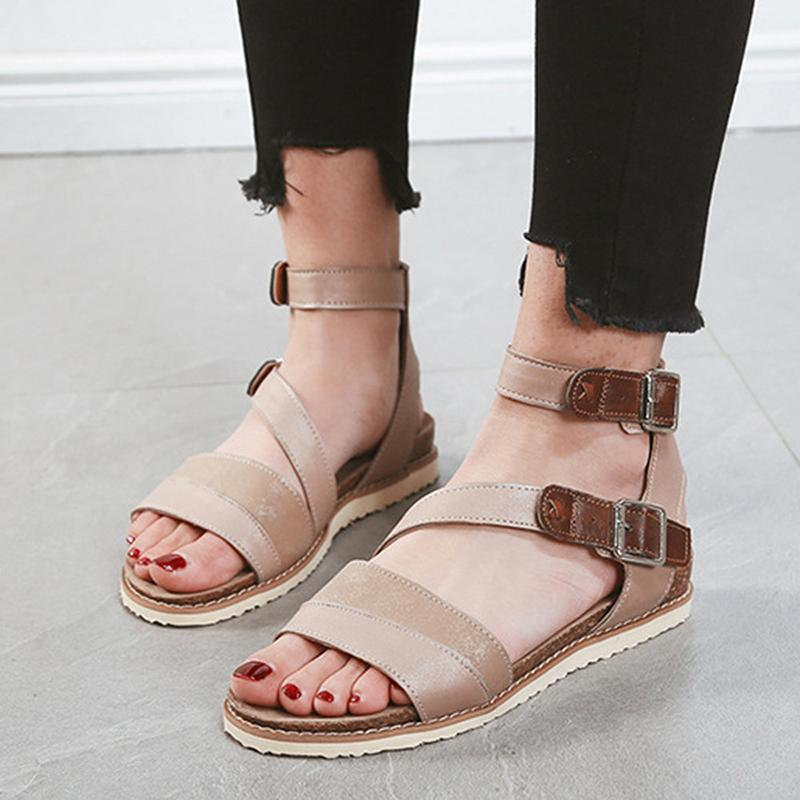 Women Comfy Splicing Ankle Strap Buckle Gladiator Sandals - fashionshoeshouse