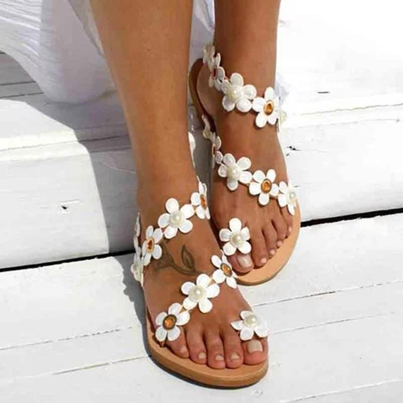 Women Flowers Casual Slip On Sandals - fashionshoeshouse