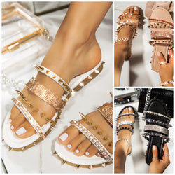 Women Summer Fashion Flat Heel Rivet Rhinestone Sandals