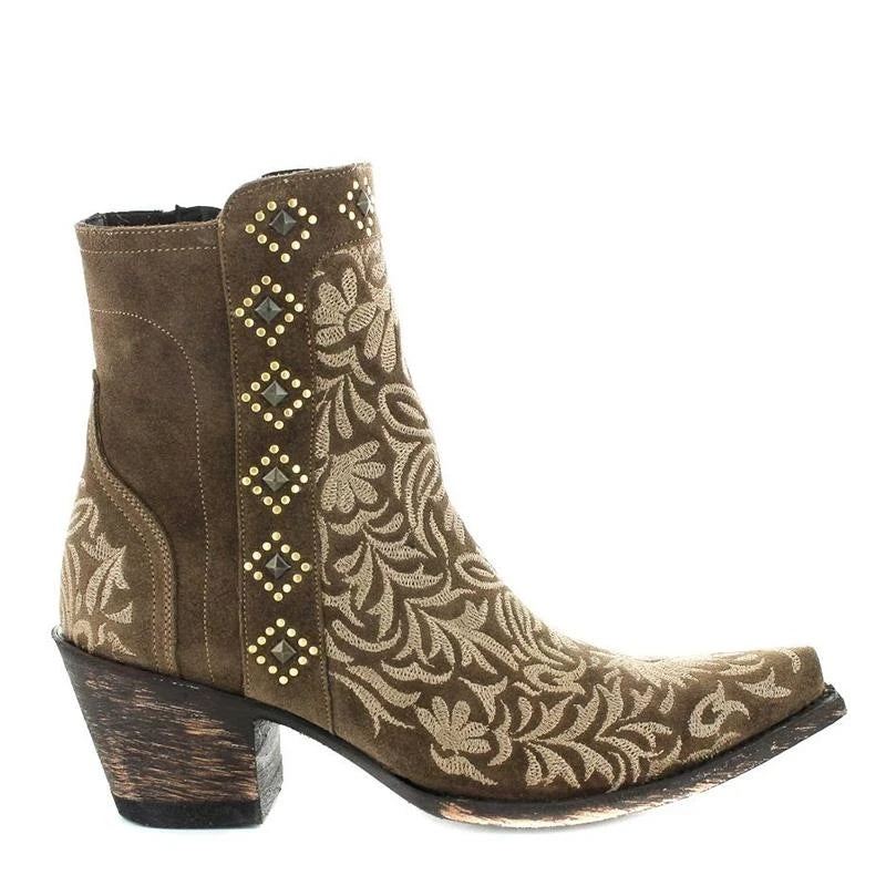Women Fashion Pointed Toe Chunky Heel Embroidered Cowboy Boots