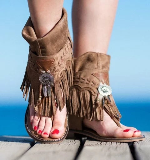 Women Flat Tassel Holiday Beach Sandals - fashionshoeshouse