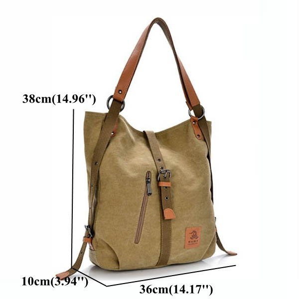 Women Canvas Bag Large Capacity Multifunctional Casual Microfiber Handbag Shoulder Bags Backpack - fashionshoeshouse