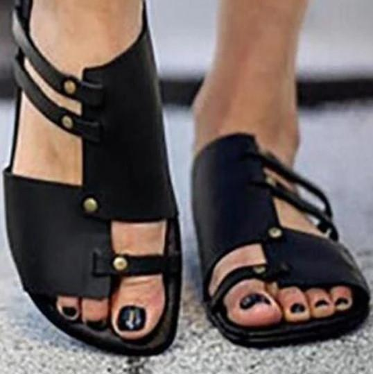 Plain Flat Peep Toe Slide Sandals For Women - fashionshoeshouse