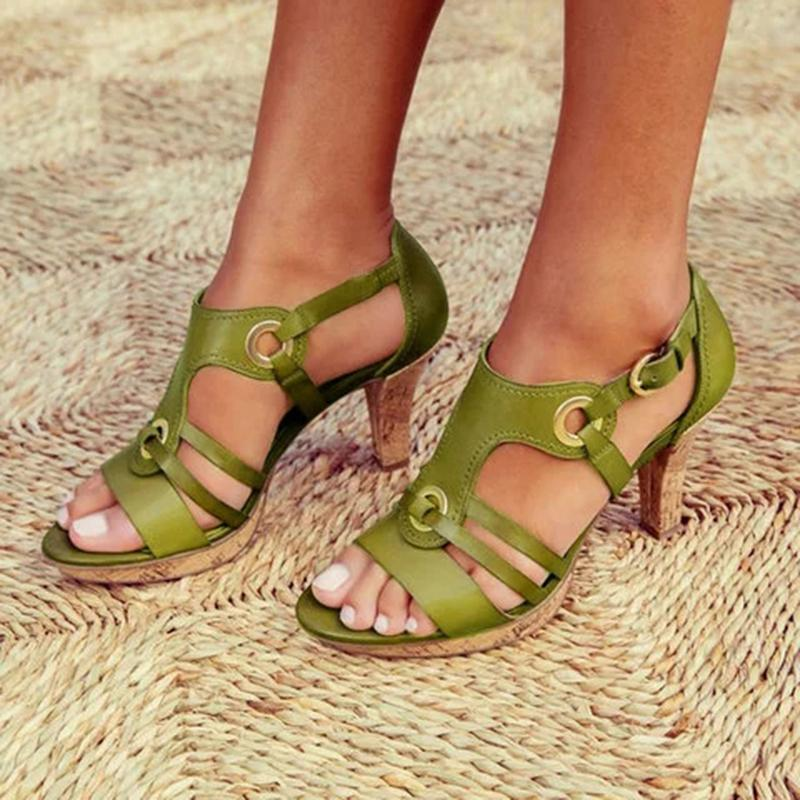 Elegant Comma Heels Buckle Strap Sandals - fashionshoeshouse