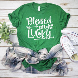 Blessed And Lucky Printed Women Tops - fashionshoeshouse