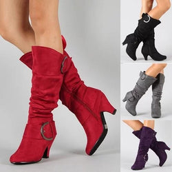 Women Long Boots Ladies Chunky Heel Suede Knee High Boots - fashionshoeshouse