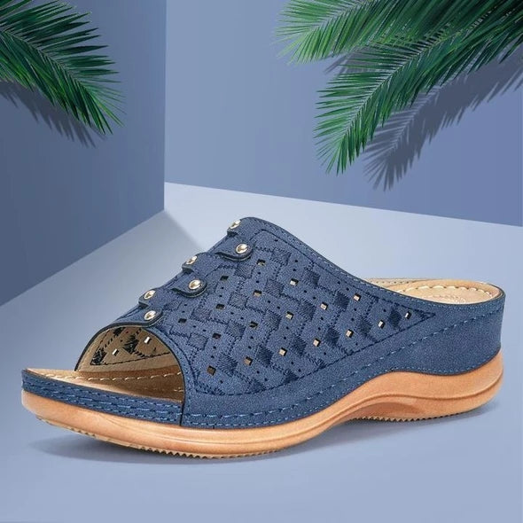 Women Summer Fashion Hollow Chunky Heel Slide Sandals - fashionshoeshouse