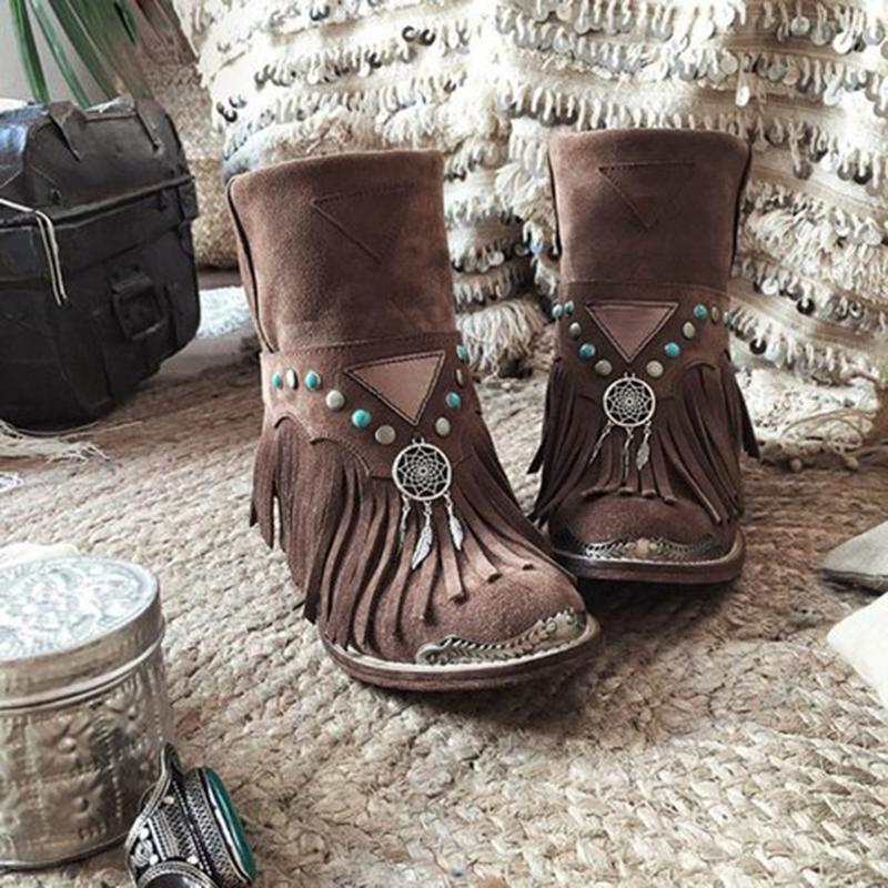 Women Boho Rivet Back Zipper Chunky Heel Tassel Suede Booties - fashionshoeshouse
