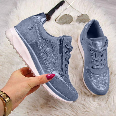 Women Wedge Comfortable Shoes Lace Up Sneakers - fashionshoeshouse