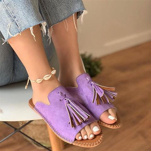 2019 New Chic Roman Tassel Flat Slides Sandals For Women - fashionshoeshouse