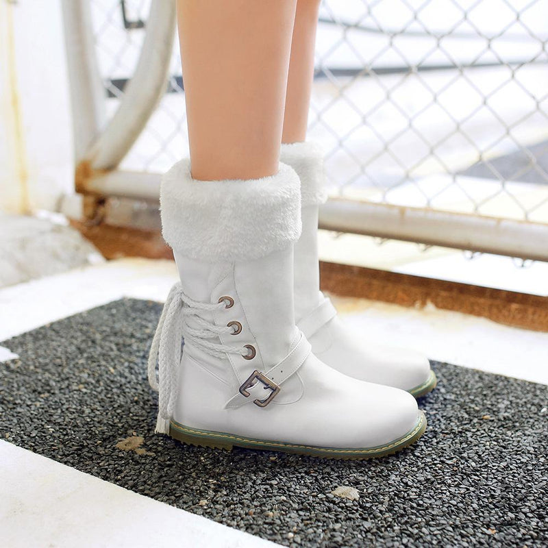 Casual Low Heels Round Toe Buckle Snow Boots - fashionshoeshouse