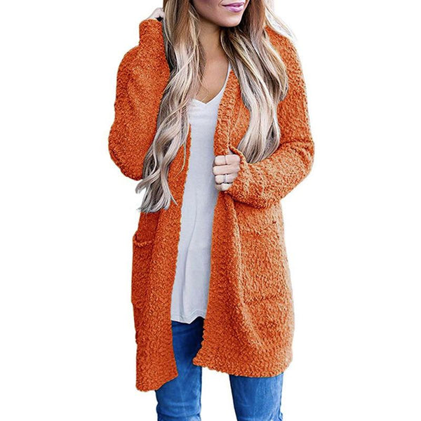 Women Pure Color Pockets Long Cardigan Sweater - fashionshoeshouse