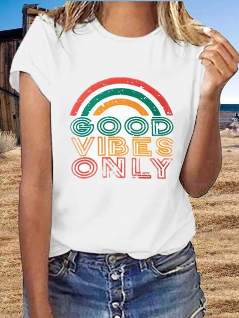 Women Short Sleeve Rainbow Letter Printed Plus Size Casual Tops - fashionshoeshouse