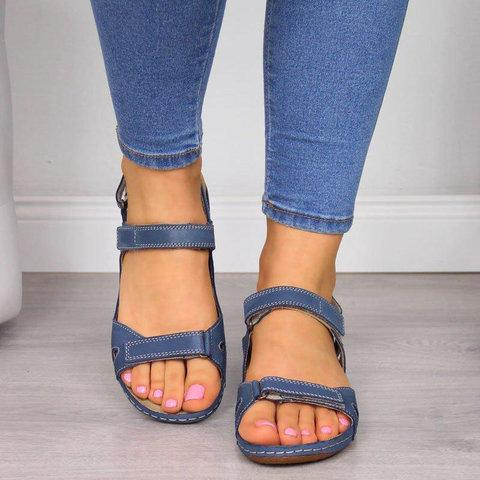 Hollow Open Toe Strap Buckle Thong Comfy Sandals - fashionshoeshouse