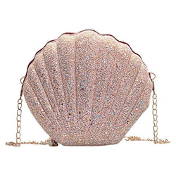 Cute Sequins Small Shell Bag Glitter Shoulder Bag Phone Money Pouch Chain Crossbody Bags for Women - fashionshoeshouse