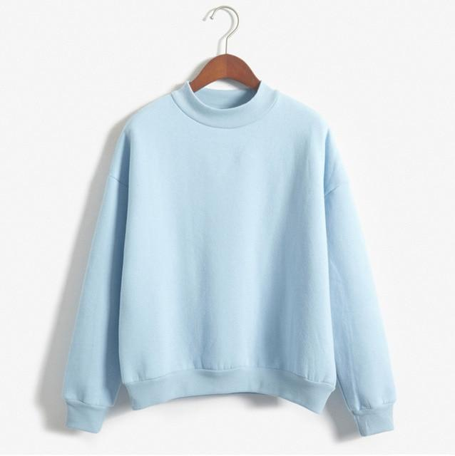 9 Colors Winter Solid Round Neck Long Sleeve Velvet Warm Sweatshirts - fashionshoeshouse