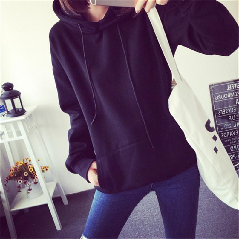 2019 New Hoodies For Girls Solid Color Hooded Tops Women's Sweatshirt Long-sleeved Winter Velvet Thickening Coat - fashionshoeshouse