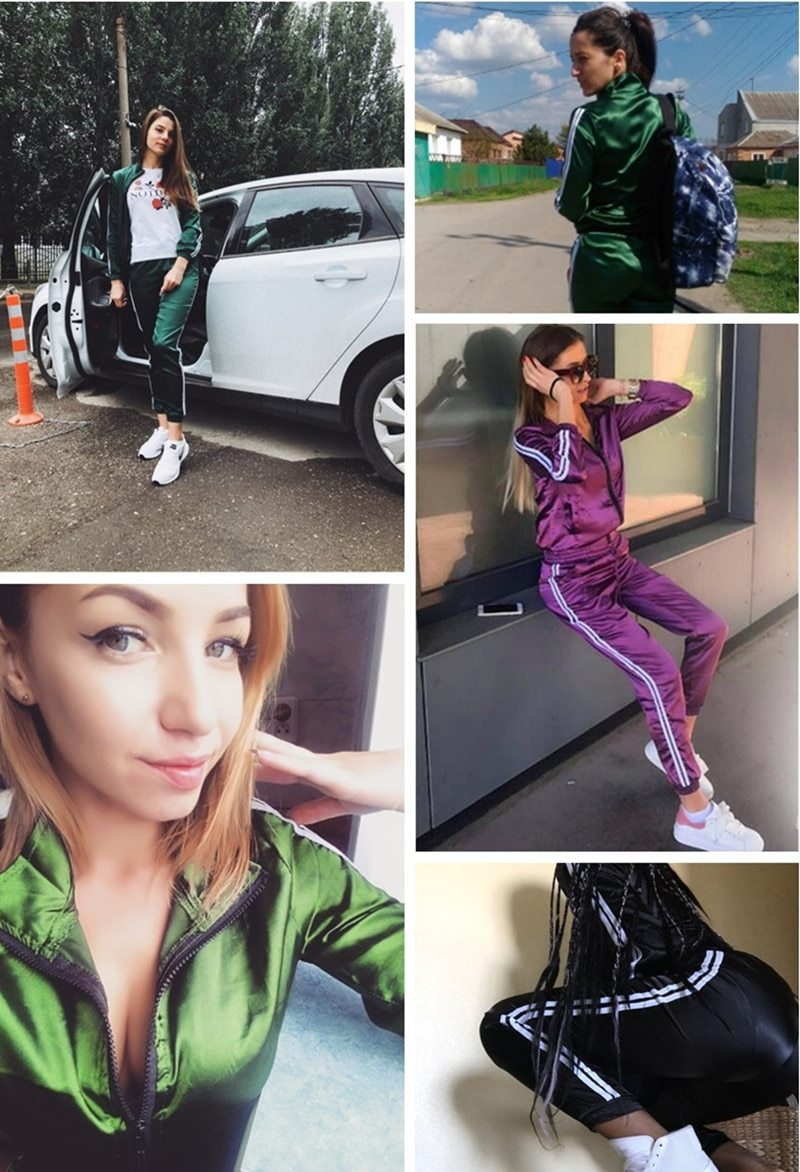 Casual Tracksuit Women 2 Pieces Set Top And Pants Satin  Sweat Suit Striped Patchwork Zipper Sexy Sweatshirt - fashionshoeshouse