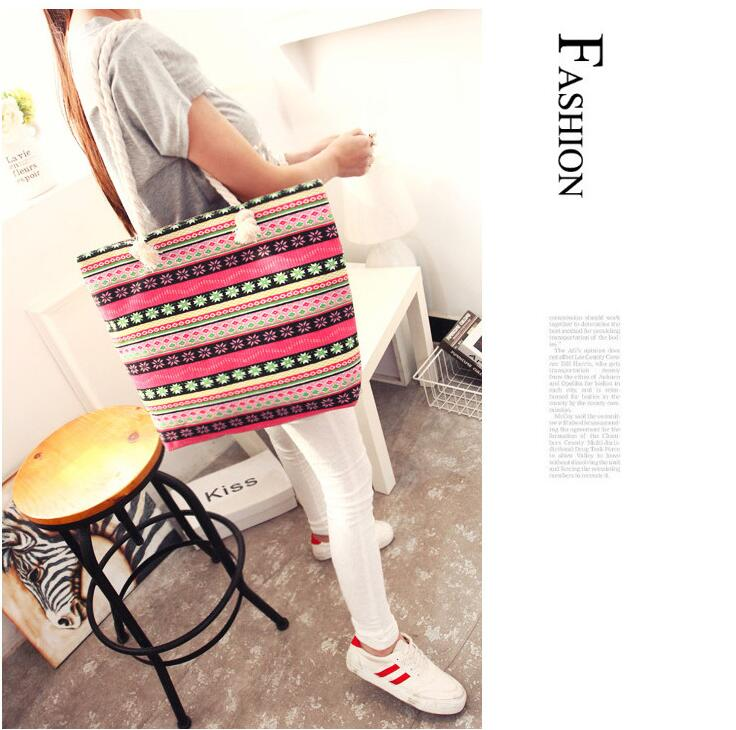Casual Flower Printing Handbags For Beach Large Capacity Summer Bags - fashionshoeshouse