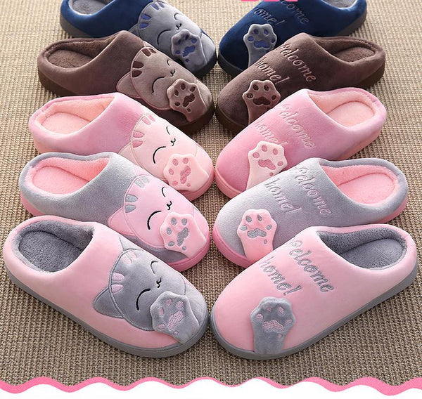 Winter warm plush slippers cute cat animal slippers house bedroom couple slippers
