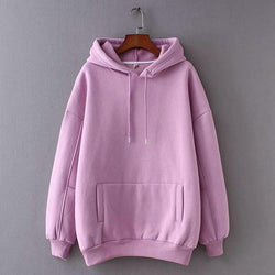 Women Fleece Autumn Hoodie Winter Fashion Ladies Pullovers Warm Pocket Hooded Sweatshirt - fashionshoeshouse