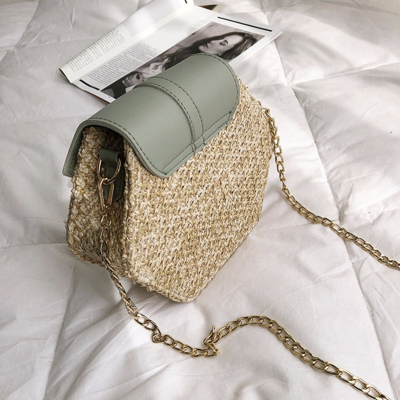 Fashion Mulit Style Straw+pu Bag Handbags Women Summer Rattan Bag - fashionshoeshouse
