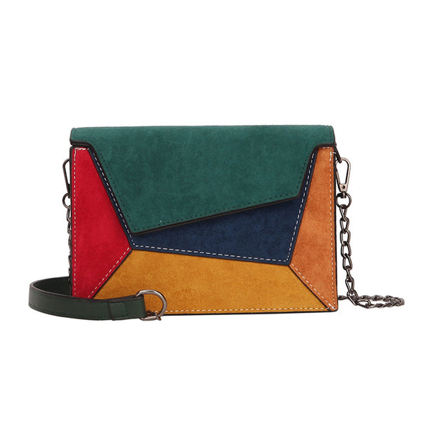 Patchwork Women Shoulder Bag Retro Matte Crossbody Bags - fashionshoeshouse
