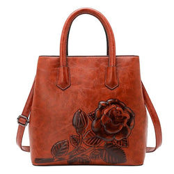 Luxurious women handbag rose print lady tote bag - fashionshoeshouse