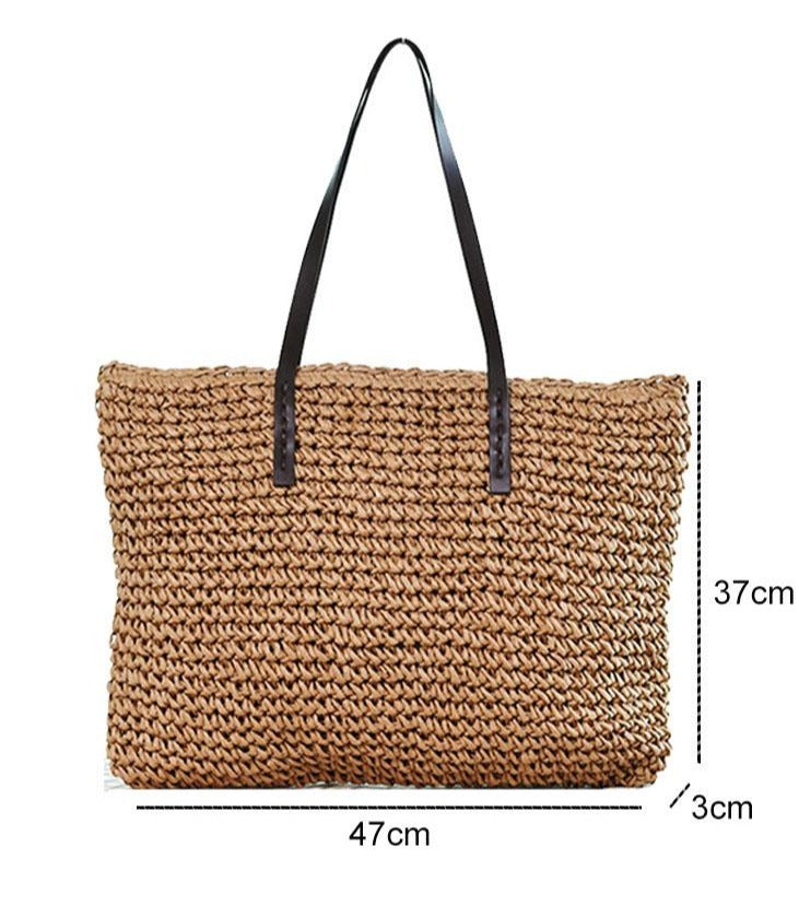 Women Handbag Summer Beach Bag Rattan Woven Handmade Knitted Straw Bag Bohemia - fashionshoeshouse