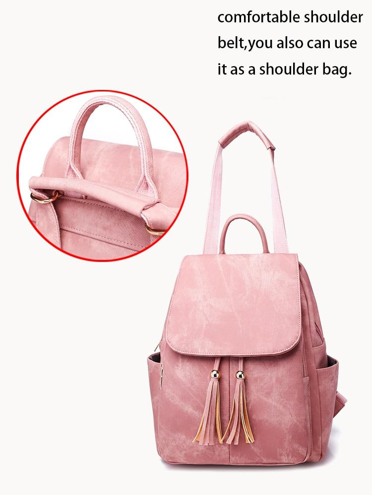 Fashion Woman Backpacks Travel Backpacks with Tassel - fashionshoeshouse