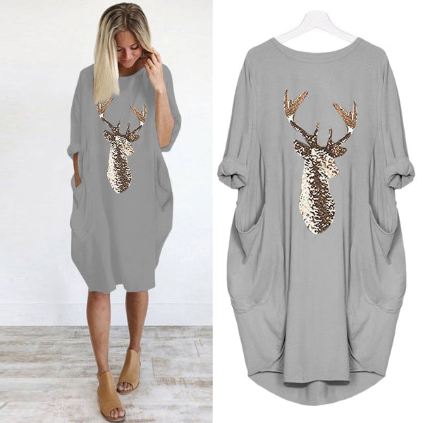 Women's casual loose long sleeve tops dress with pocket reindeer print Christmas dress