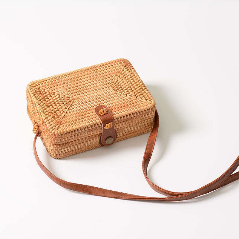 Fashion Straw Handbags Women Summer Rattan Bag Handmade Woven Beach Handbag - fashionshoeshouse