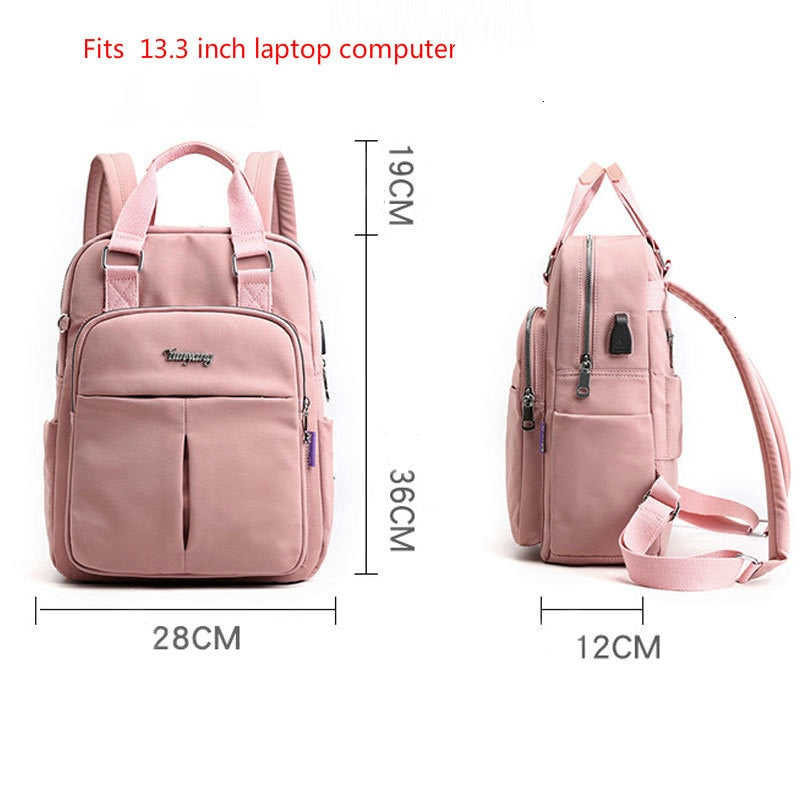 Laptop backpack for women 13.3inch waterproof USB charging backpack - fashionshoeshouse
